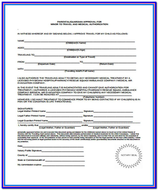 Free Travel Consent Form For Minor Traveling With One Parent