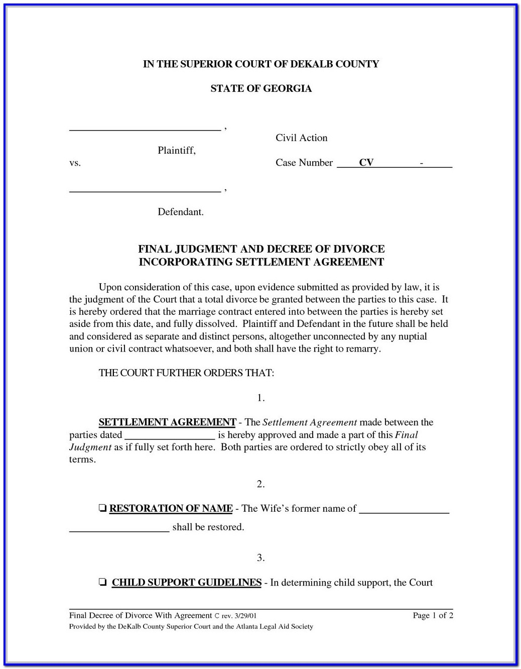 Gwinnett County Uncontested Divorce Forms