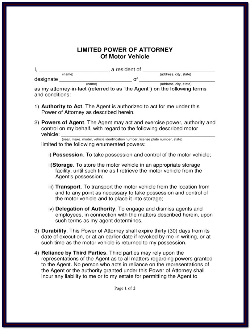 Limited Power Of Attorney Form Arkansas
