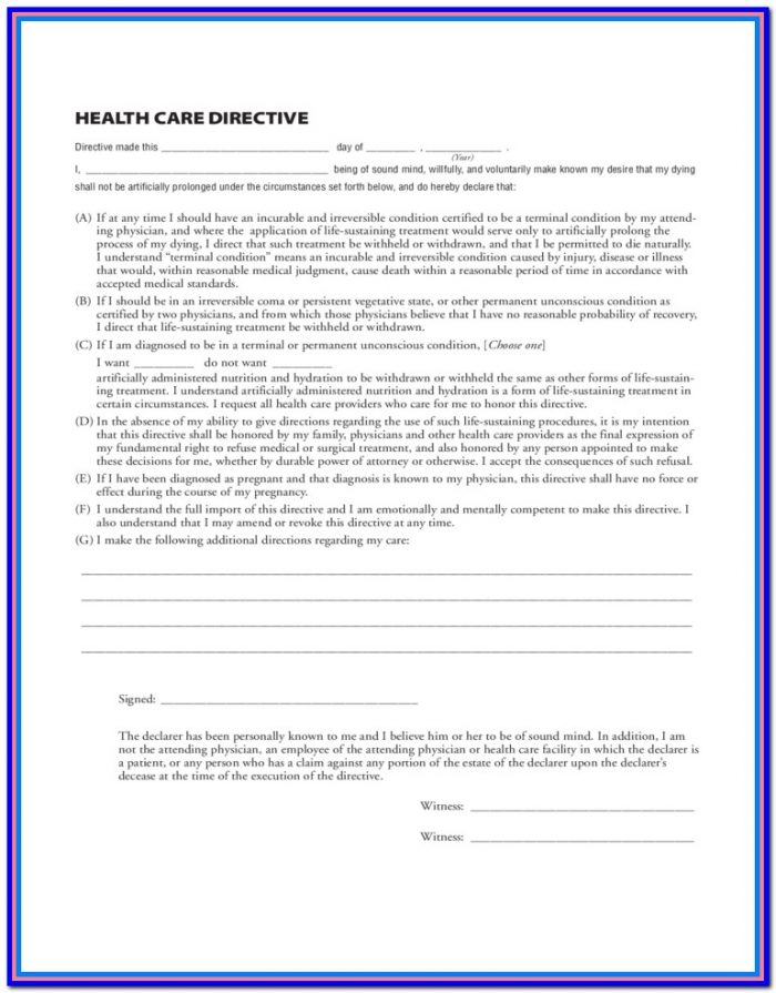 Medical Durable Power Of Attorney Form Washington State