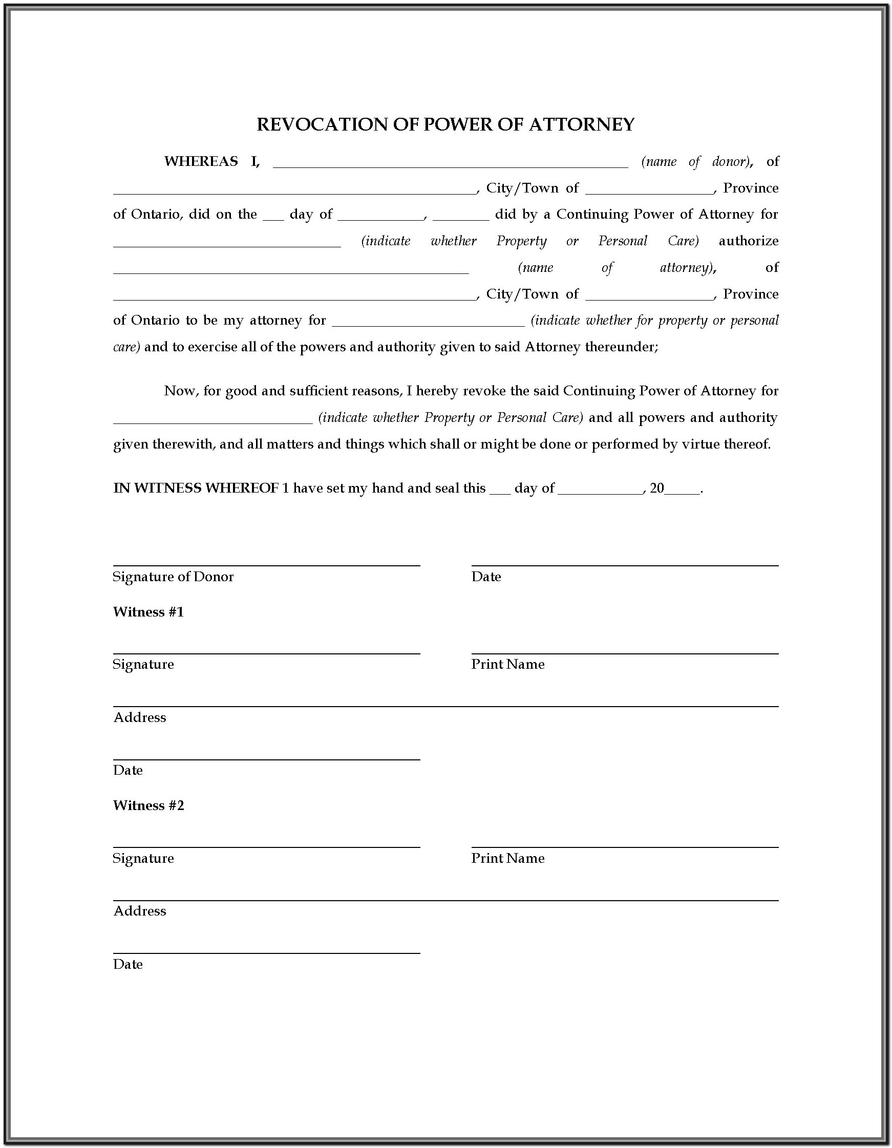 Nc Durable Power Of Attorney Long Form