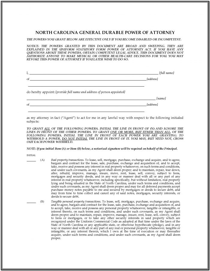 Nc Durable Power Of Attorney Short Form