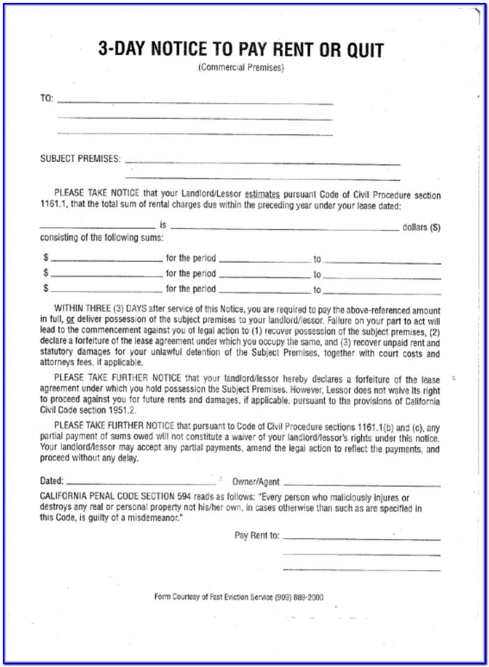 Notice To Pay Rent Or Quit Form California