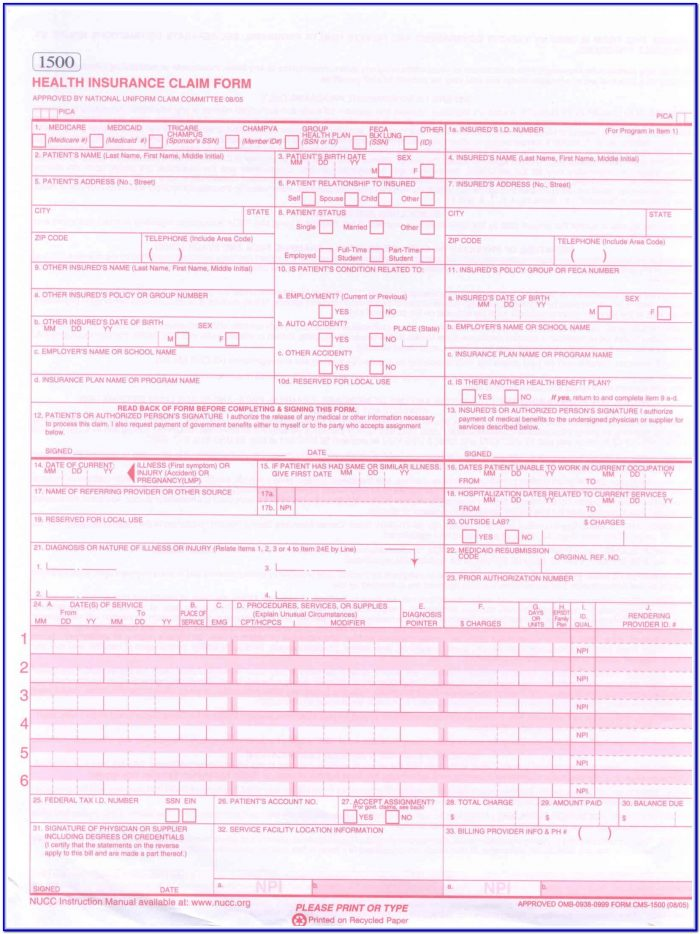 Printable Cms 1500 Form Download
