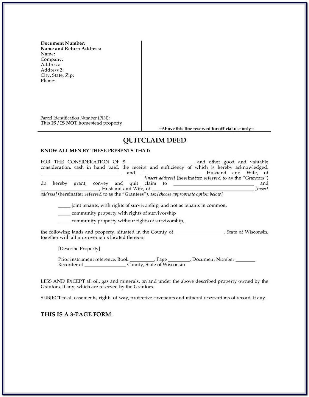 Quit Claim Deed Form Michigan Genesee County