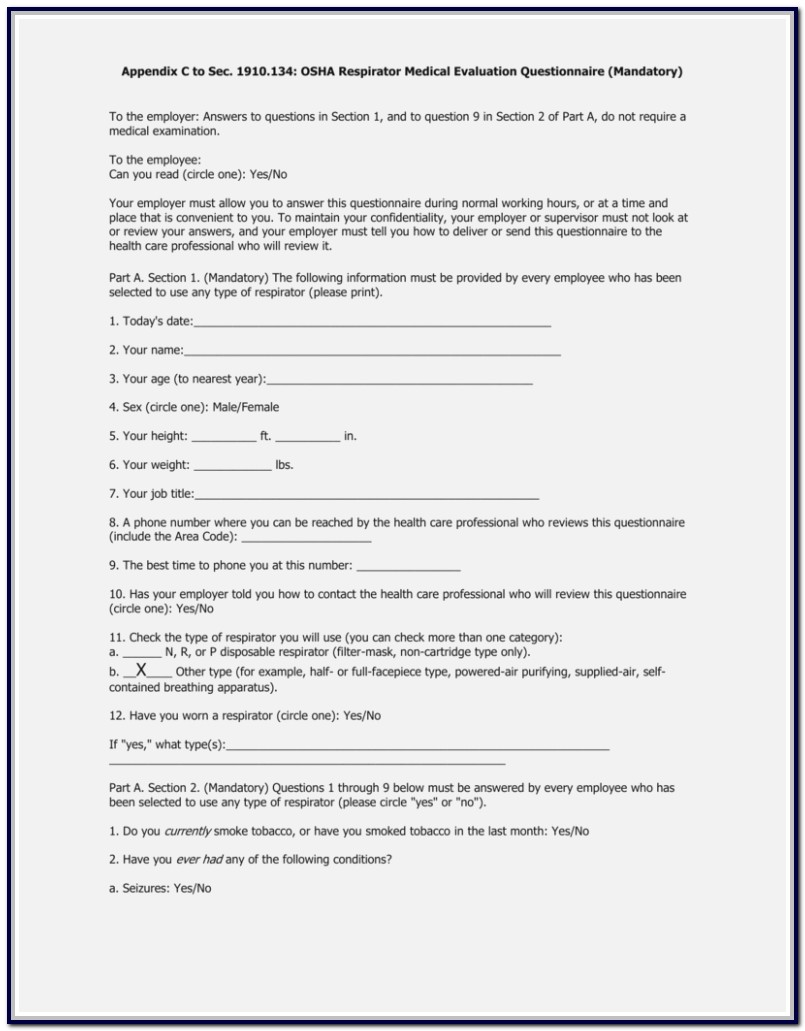 Respirator Medical Evaluation Questionnaire Form