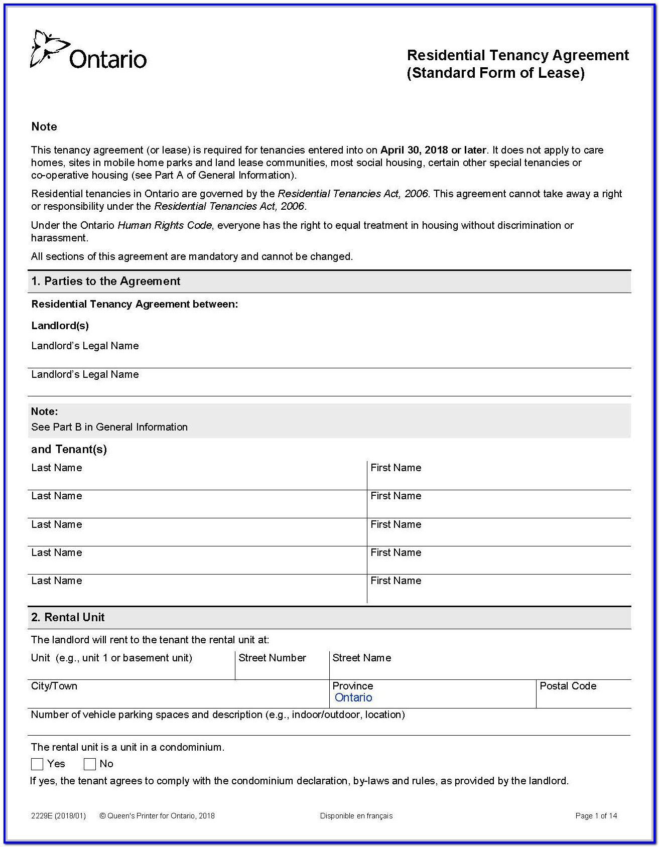 Standard Lease Agreement Form Ontario