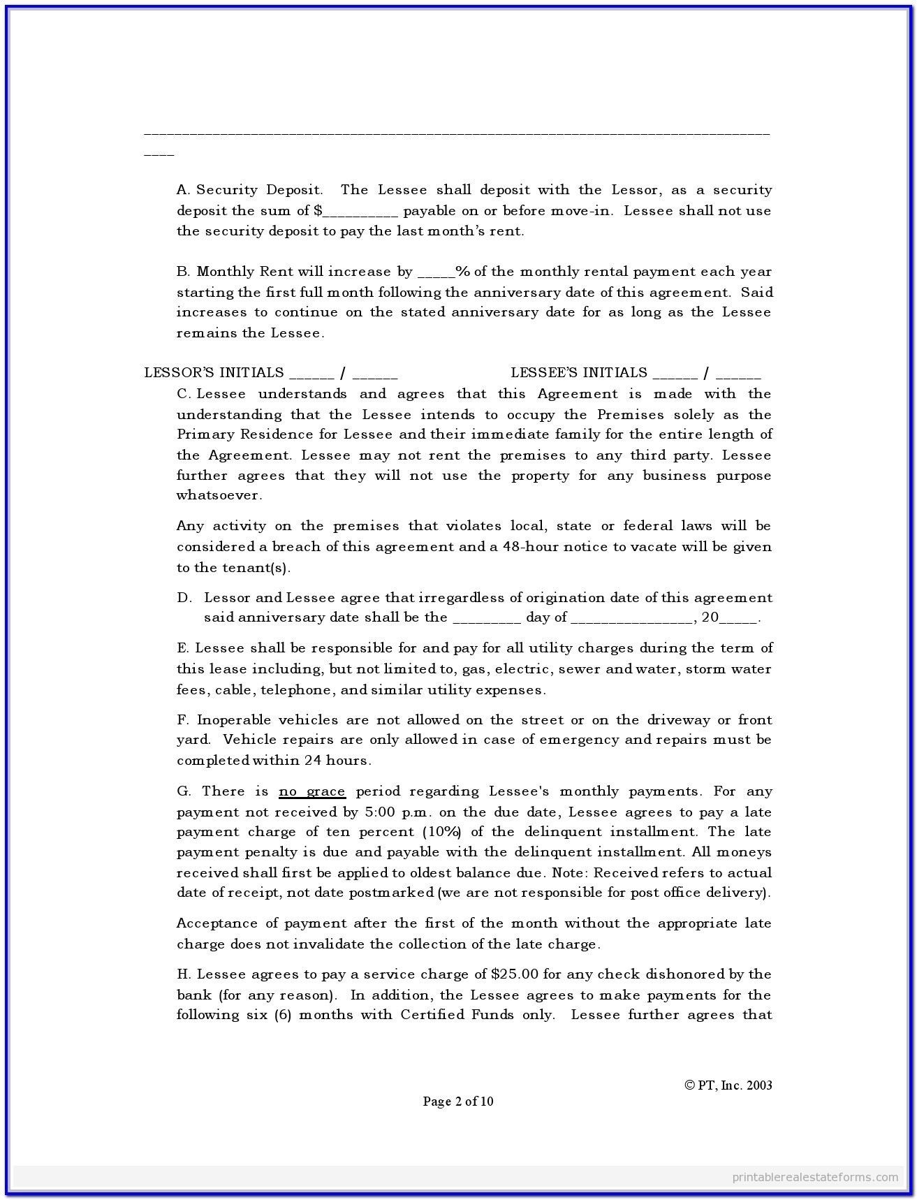 Standard Lease Agreement Form