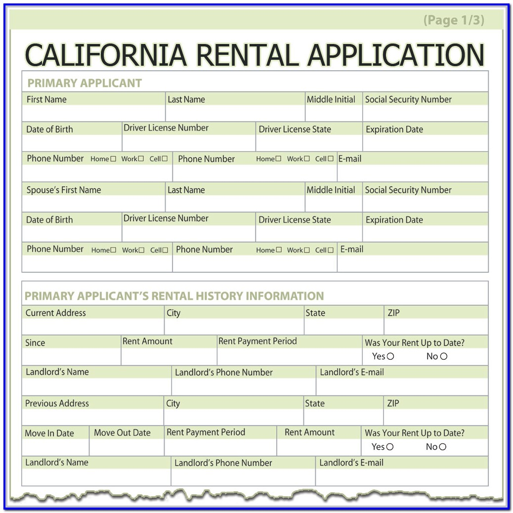 Standard Rental Application Form California