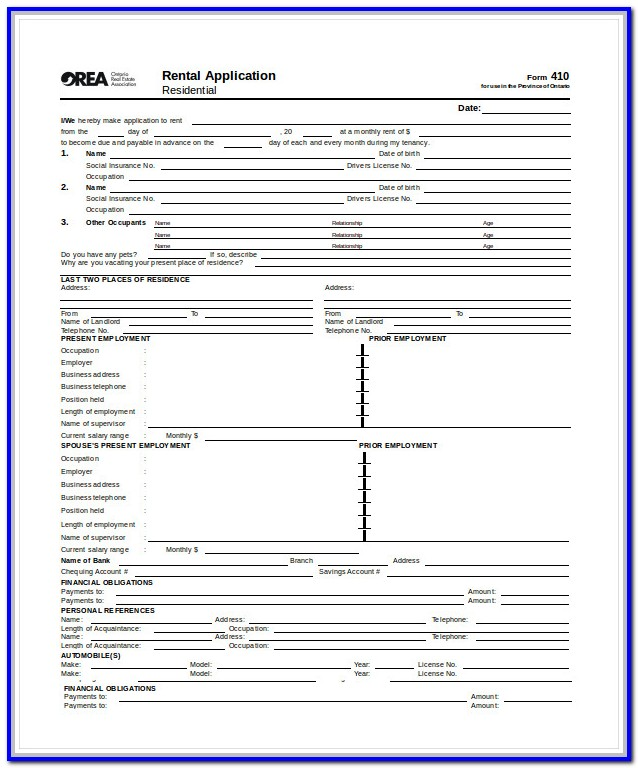 Standard Rental Application Form