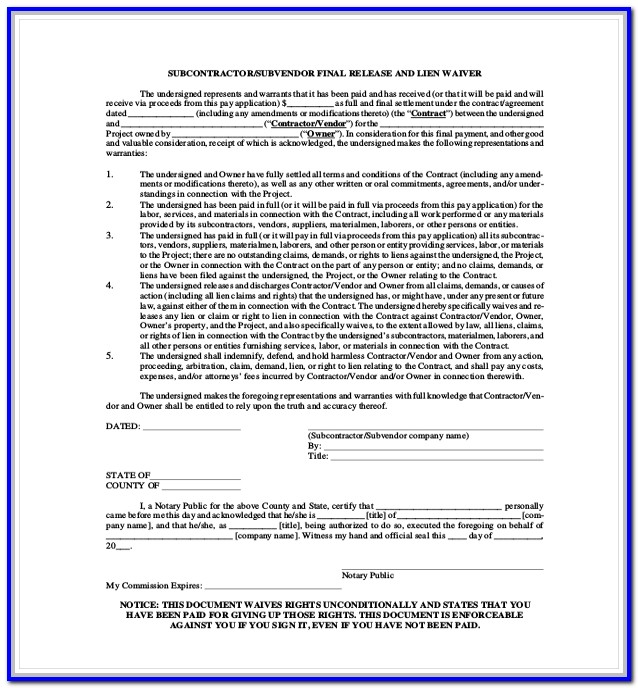 Subcontractor Lien Waiver Form Colorado