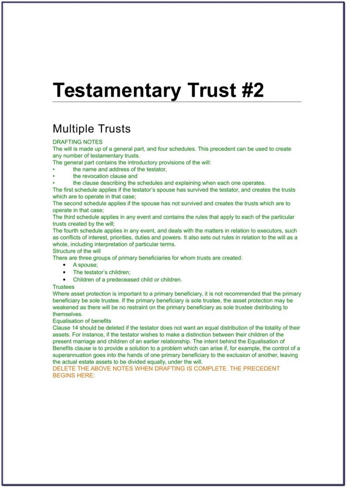 Testamentary Trust Document