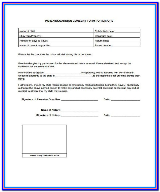 Travel Consent Form For Minor Child Traveling With One Parent