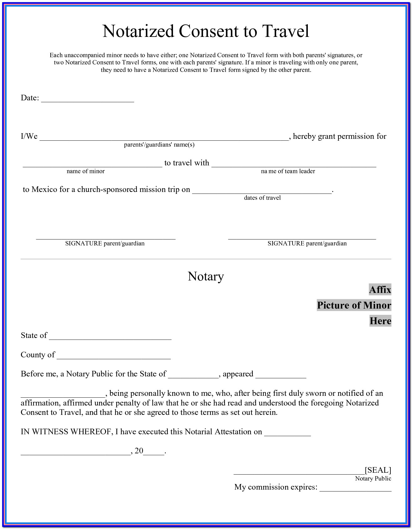 Travel Consent Form For Minor Traveling With One Parent Canada
