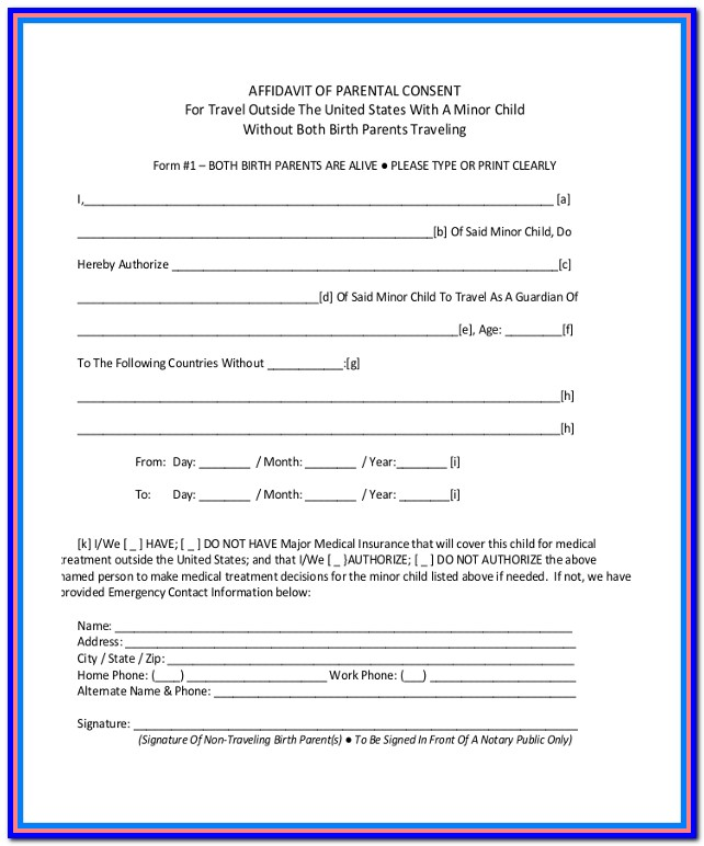 Travel Consent Form For Minor Traveling With One Parent