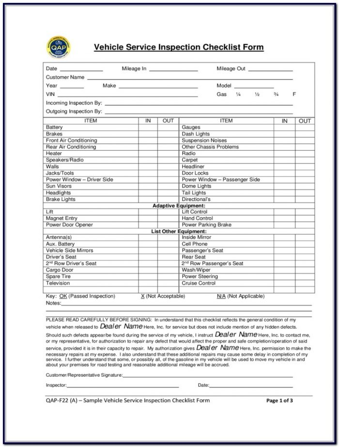 Vehicle Inspection Form Pdf Free