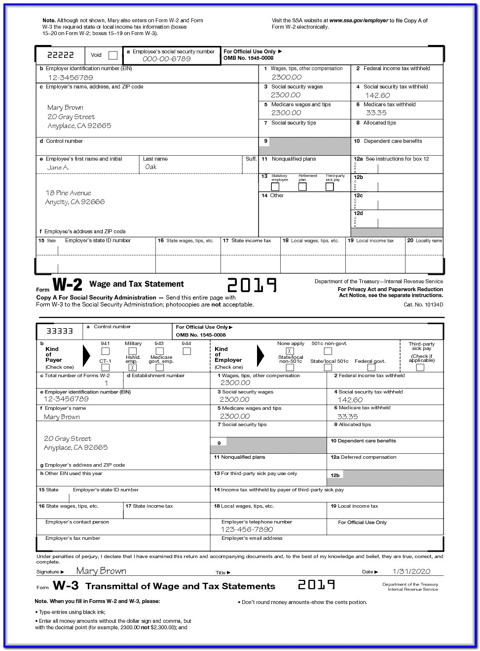 W2 Form 2018 For Employees To Fill Out
