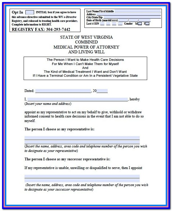 West Virginia Power Of Attorney Form Free
