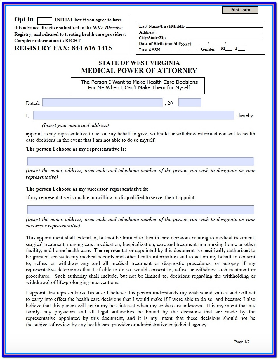 Wv Durable Power Of Attorney Forms