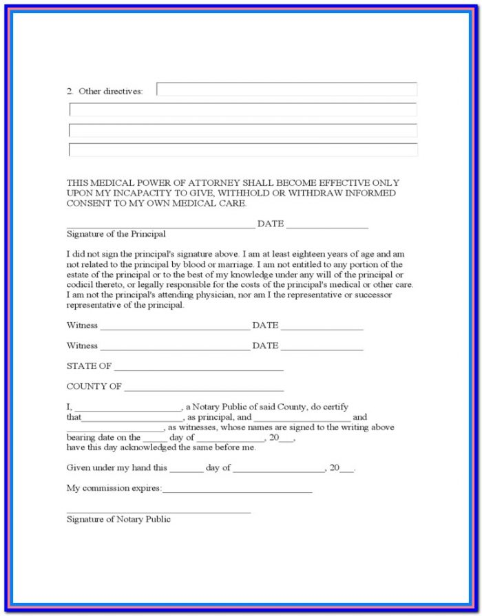 Wv Medical Power Of Attorney Form