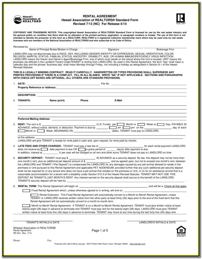Association Of Realtors Vacation Rental Agreement Form