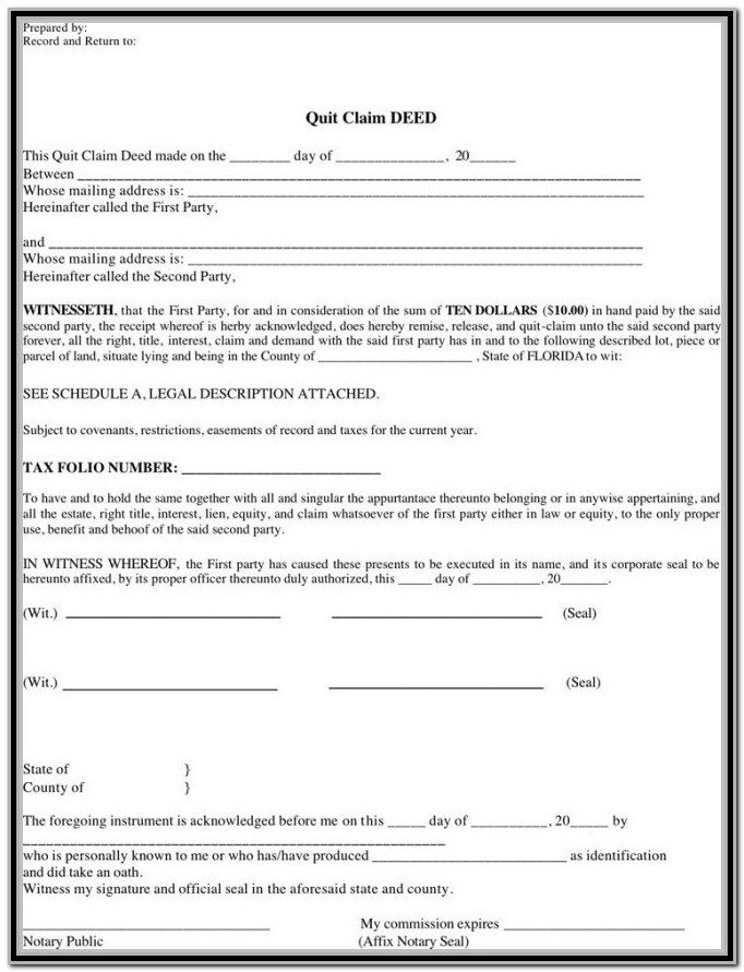 Blank Quit Claim Deed Form Ohio