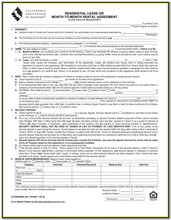 California Association Of Realtors Rental Application Form Pdf