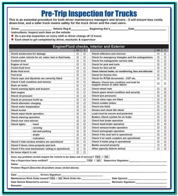 California Cdl Pre Trip Inspection Checklist Form