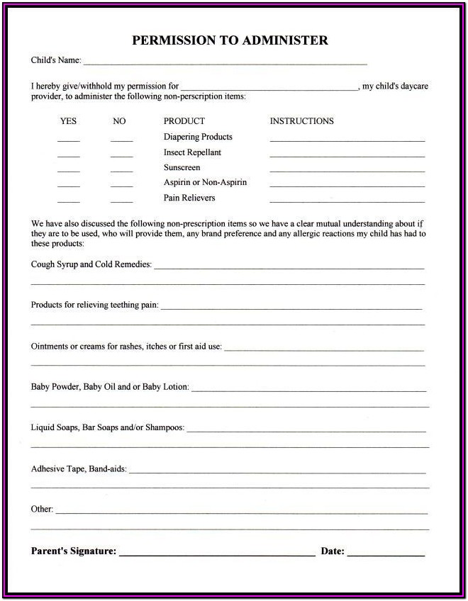 Daycare Paperwork For Parents