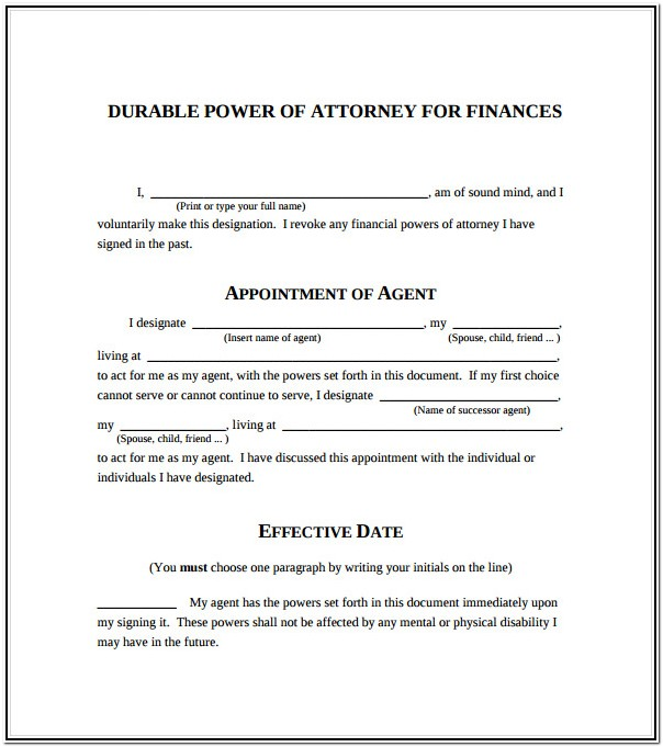 Durable Power Of Attorney Blank Form Free