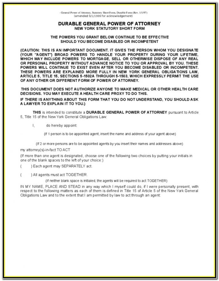 Durable Power Of Attorney Form New York
