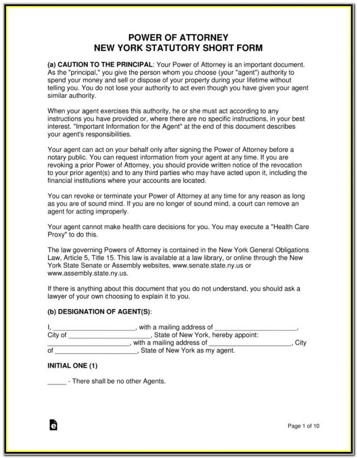 Durable Power Of Attorney Form Ny Free