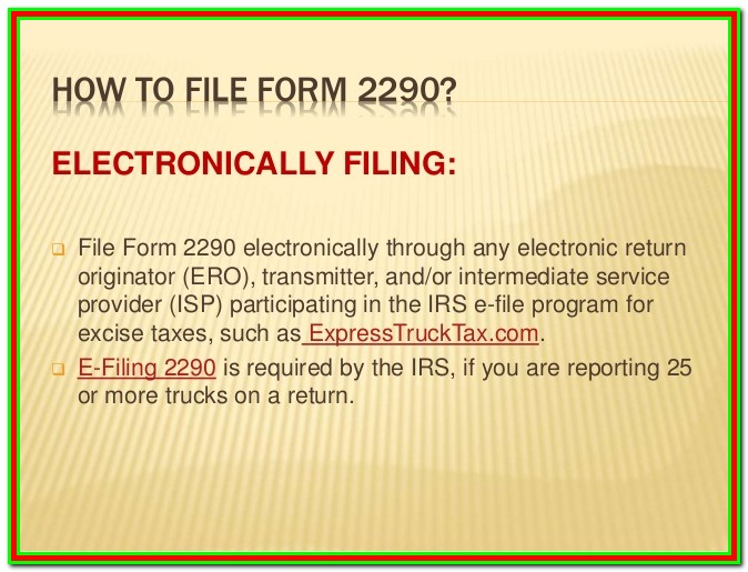 E File For Form 2290 Excise Tax Filers