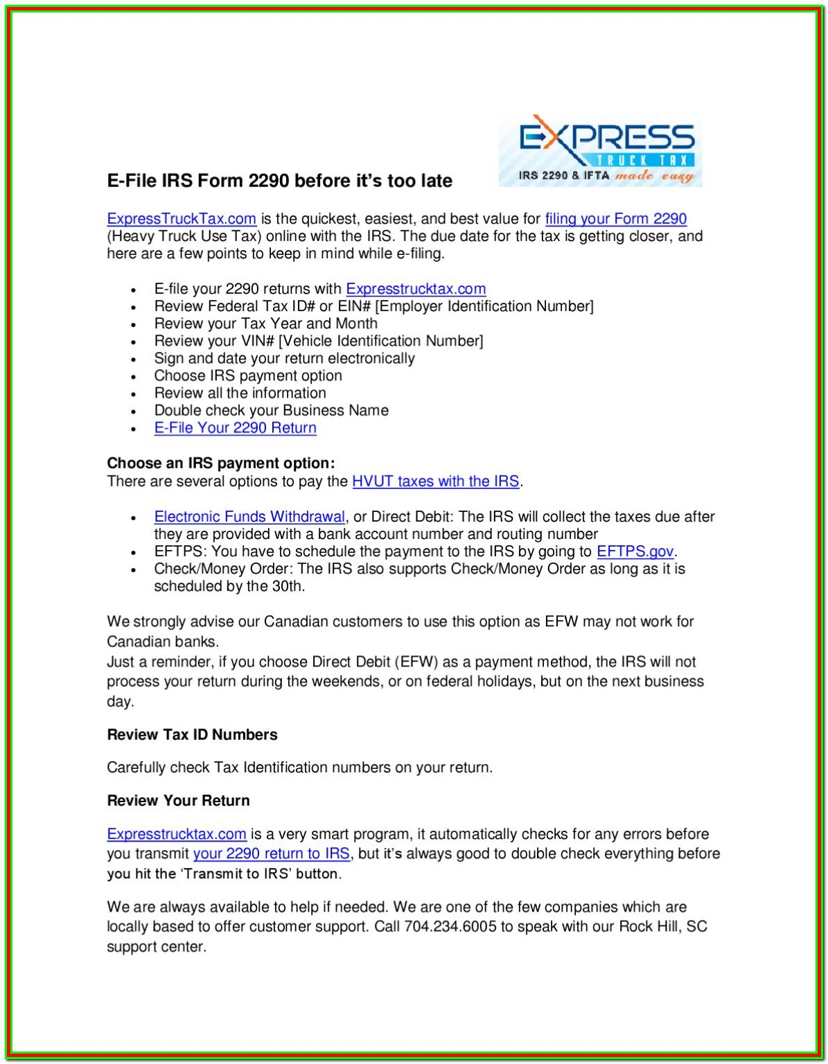E Filing Your Form 2290