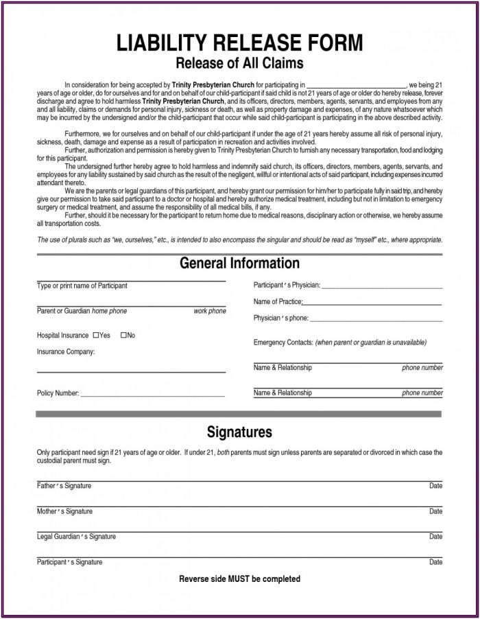 Editable Printable Sample Liability Form Form Laywers Template Forms Online Waiver Of Liability Release Form