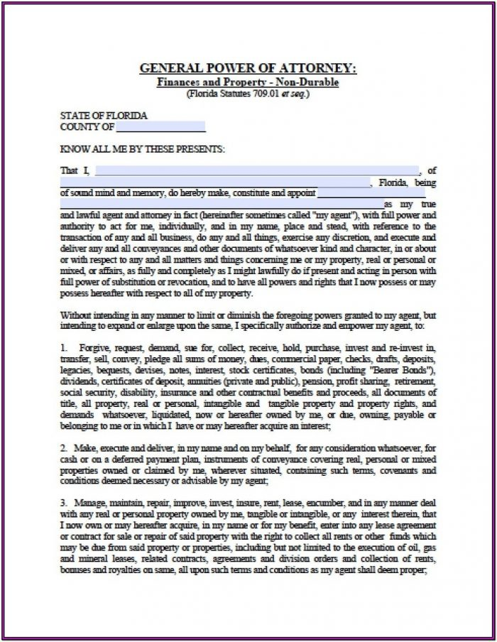 Florida Durable Power Of Attorney Form Free