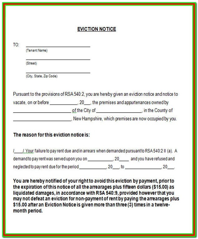 Forms For Eviction Notice For Tenant