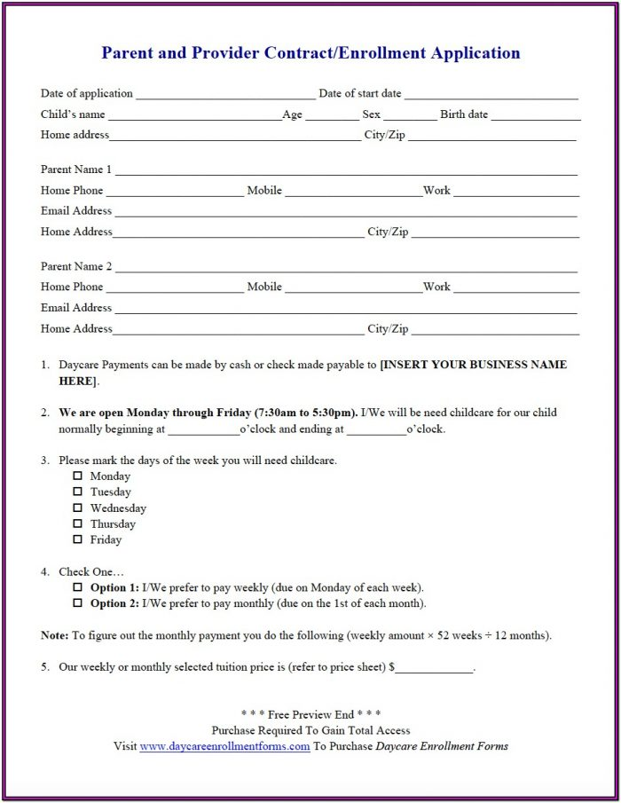 Daycare Enrollment Forms Child Care Registration Forms & Templates Throughout Free Daycare Forms