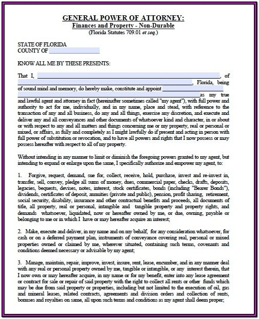 Free Florida Durable Power Of Attorney Forms To Print