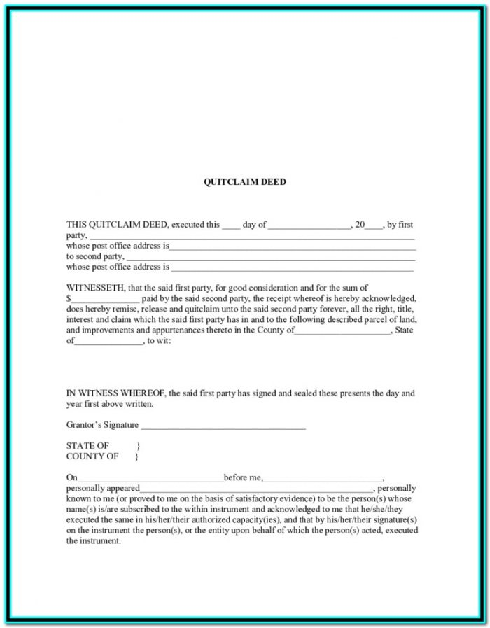 Free Printable Quit Claim Deed Form Ohio