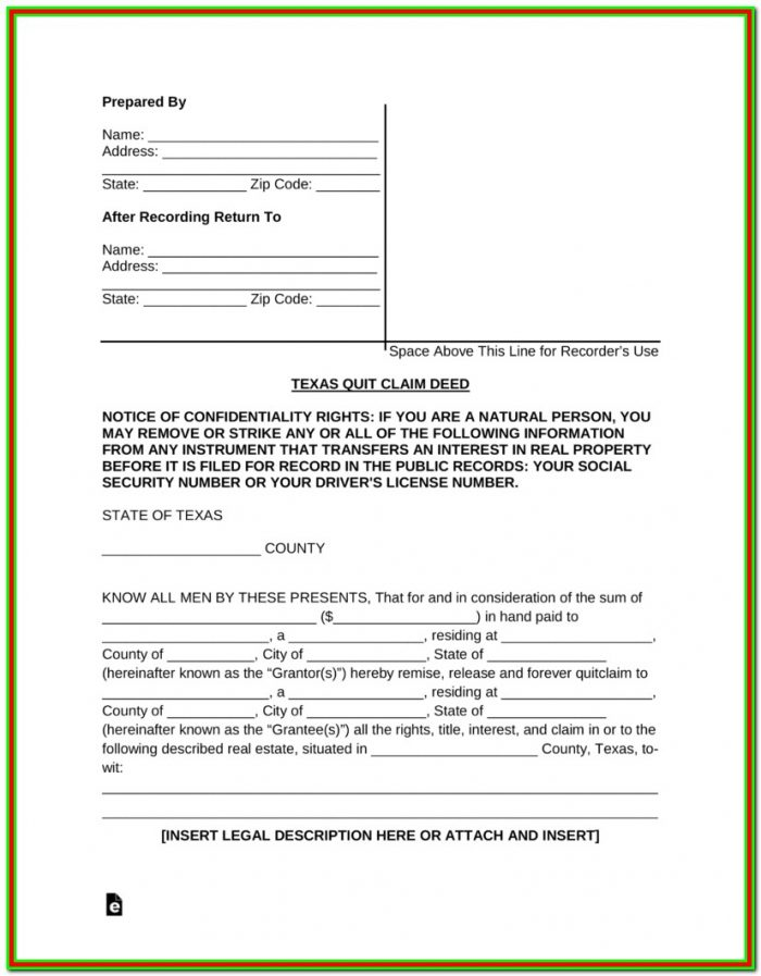 Free Texas Quit Claim Deed Form Pdf Word Eforms – Free For Quitclaim Deed Form