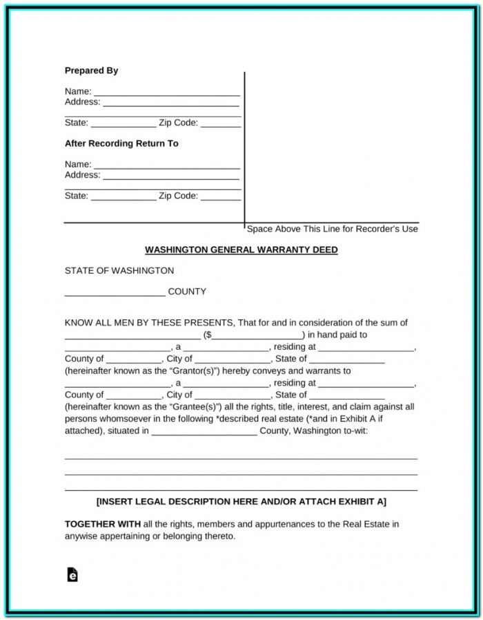 Free Washington General Warranty Deed Form Pdf Word Eforms Throughout Quit Claim Deed Form Washington State