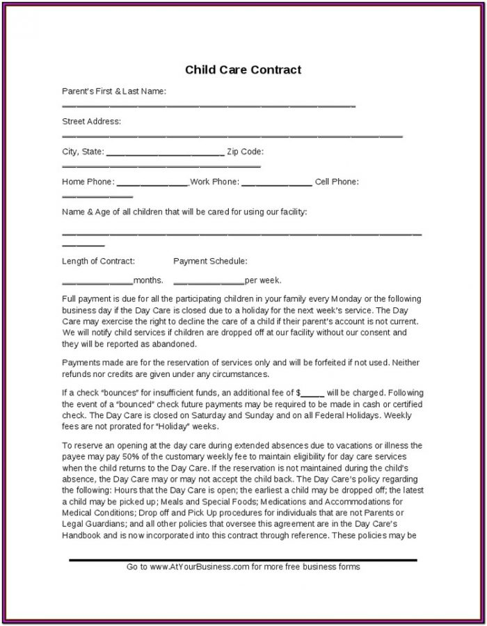 In Home Daycare Forms For Parents