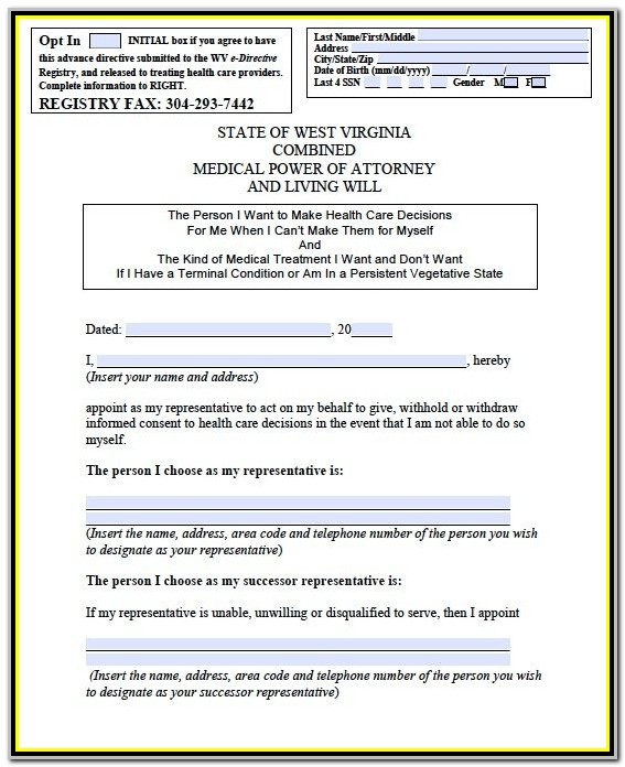 Medical Power Of Attorney Form Wv
