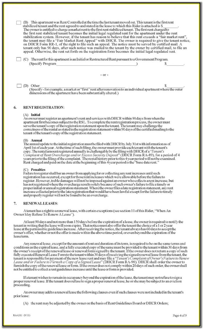 Nyc Stabilized Lease Renewal Form
