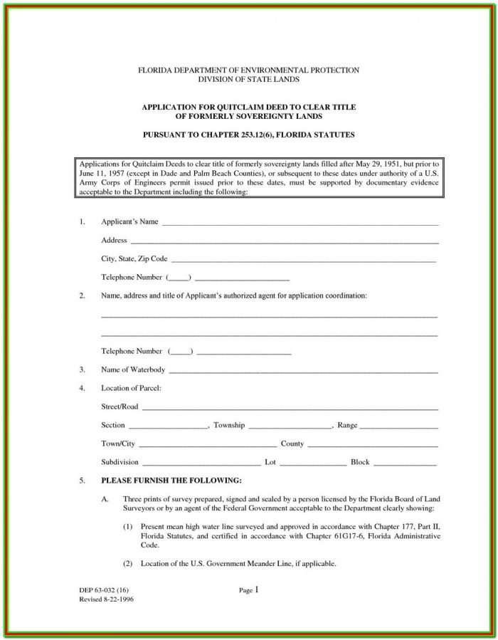 Pasco County Quit Claim Deed Form
