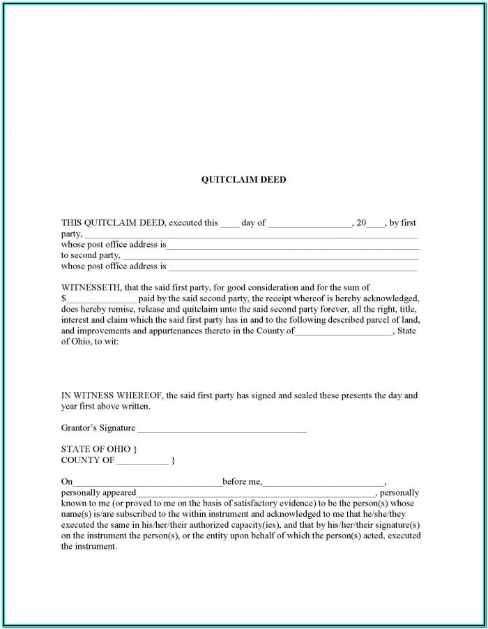 Quit Claim Deed Form Lorain County Ohio