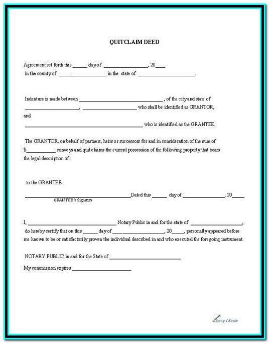 Quit Claim Deed Form Ohio Pdf