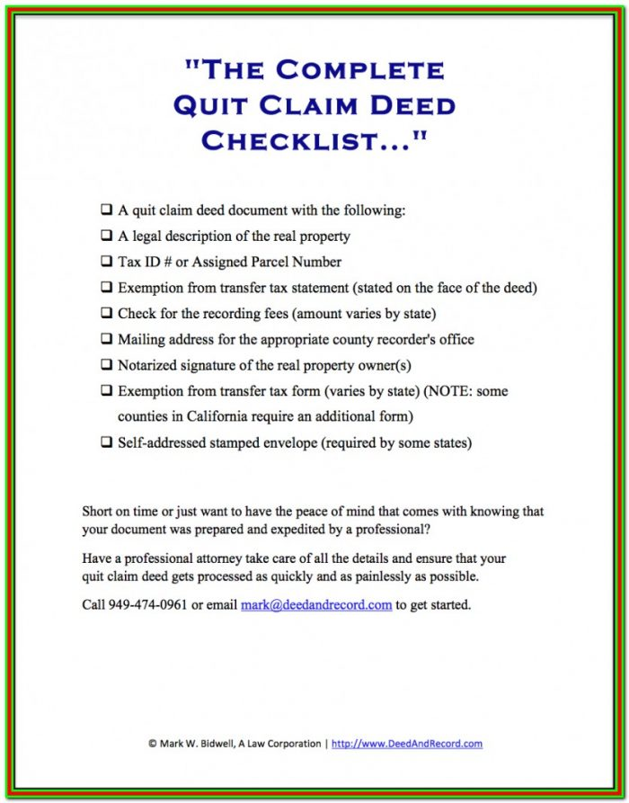 Quit Claim Deed Form Palm Beach County Florida