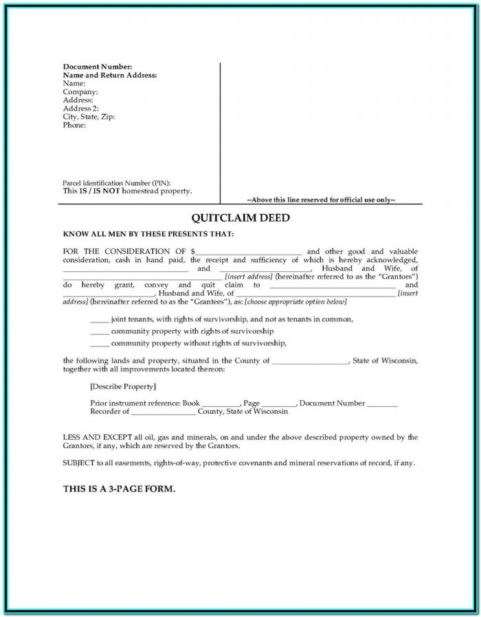 Quit Claim Deed Form Wa State